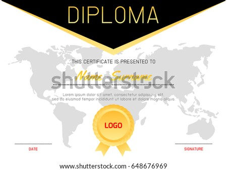 Certificate template luxury modern patterndiploma certificate certificate template with luxury and modern patterndiploma certificate background design templatediploma yelopaper Image collections