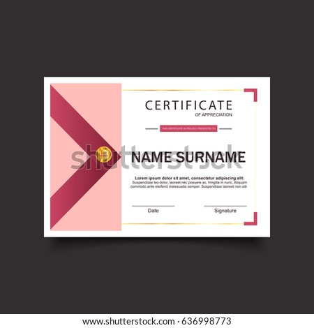 Certificate template luxury modern pattern pick stock vector certificate template with luxury and modern pattern with pick box design and dark pink ribbon with yadclub Image collections