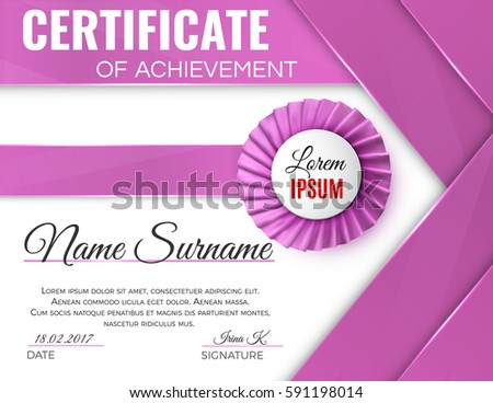 Certificate template luxury rosette bow ribbons stock vector certificate template with luxury rosette bow and ribbons yadclub Image collections