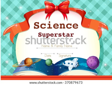 Certificate Template Science Theme Illustration Stock Photo Photo