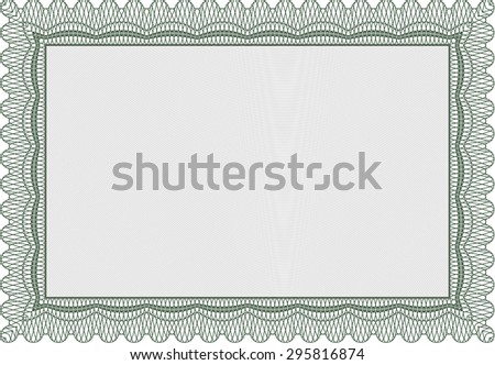 Certificate. Vector pattern that is used in currency and diplomas.With great quality guilloche pattern. Modern design.  - stock vector