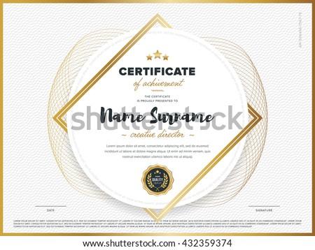 Certificate vector template. Diploma design. Graduation, achievement, success. Certificate document. Certificate design. Business document. Decorative certificate. Gold certificate. Certificate. - stock vector