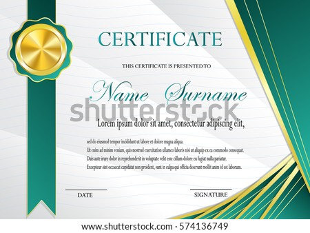 Certificate Gold Medal Template Fashionable Modern Stock ...