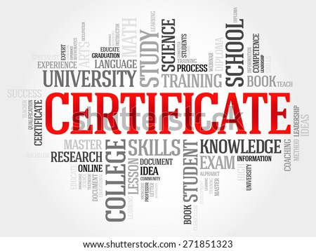 CERTIFICATE word cloud, education business concept