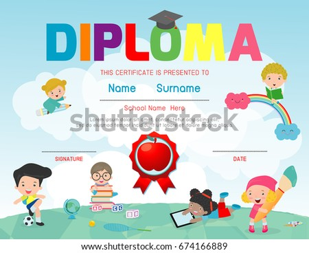 Certificates Kindergarten And Elementary, Preschool Kids Diploma Certificate  Pattern Design Template, Diploma Template For
