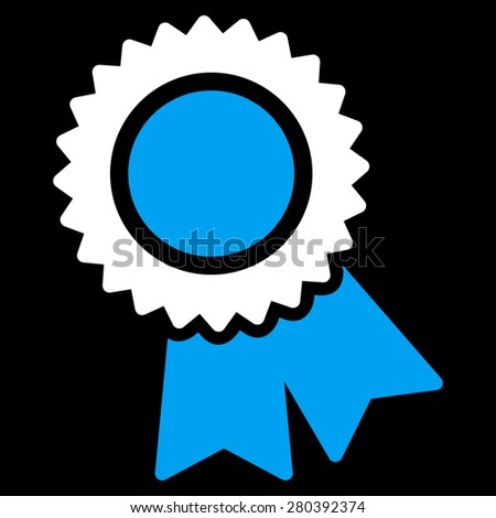 Certification icon from Competition & Success Bicolor Icon Set on a black background. This isolated flat symbol uses light blue and white colors. - stock vector