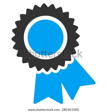 Certification icon from Competition & Success Bicolor Icon Set. This isolated flat symbol uses modern corporation light blue and gray colors. - stock vector