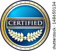 Certified Blue Award - stock vector