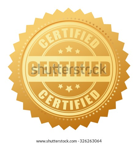 Certified gold seal isolated on white - stock vector