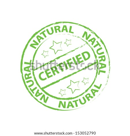 Certified Natural Rubber stamp, sticker, tag, label, sign, icon, symbol. Vector