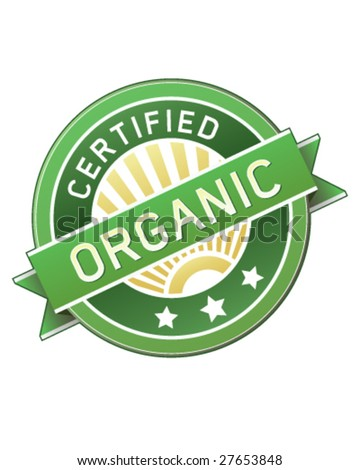 Certified organic label or sticker for products - vector illustration
