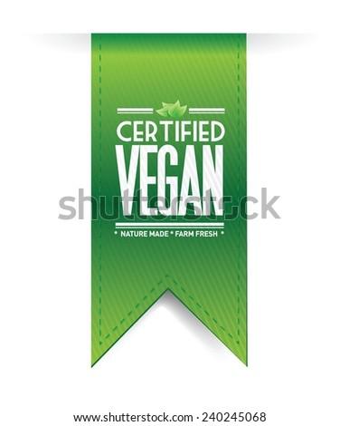 certified vegan hanging sign illustration design over a white background - stock vector