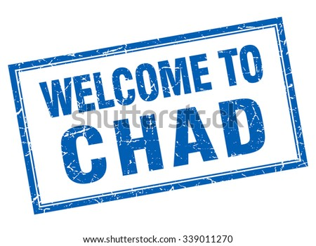 Chad blue square grunge welcome isolated stamp