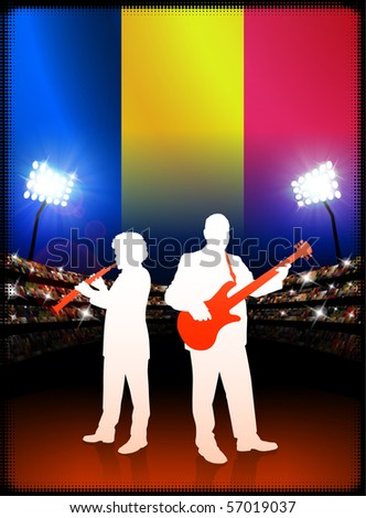 Chad Flag with Live Music Band on Stadium Background Original Illustration - stock vector