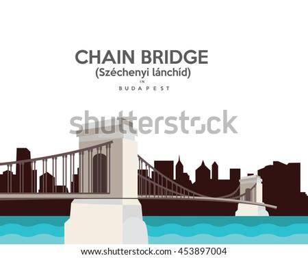 Chain Bridge in Budapest , Hungary - stock vector