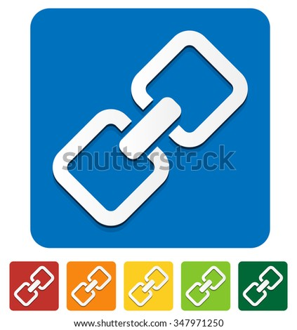 Chain, chain link icon in several colors. - stock vector