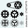 Chain gears and set cogs isolated on blue background - stock vector
