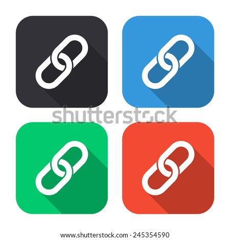 chain link icon - colored illustration (gray, blue, green, red) with long shadow - stock vector