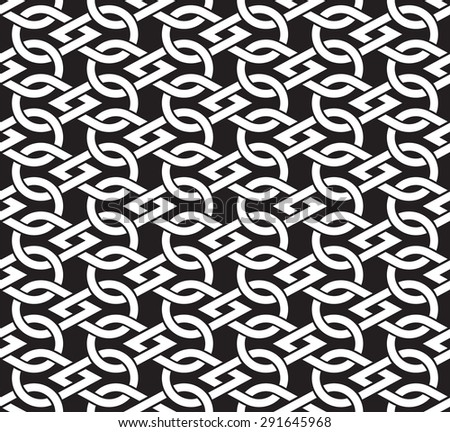 Chain mail of of intersecting drops. Celtic seamless pattern with swatch for filling. Fashion geometric background for web  or printing design. - stock vector