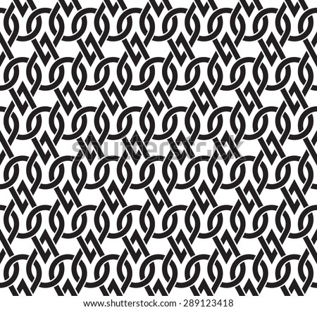 Chain mail of the links in form of drops. Celtic seamless pattern with swatch for filling. Fashion geometric background for web and tattoo design. - stock vector