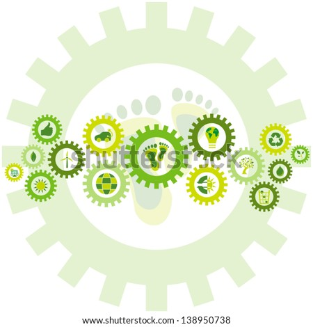 Chain of gear wheels filled with bio, eco and environmental icons and symbols placed in a background of the environmental footprint - stock vector