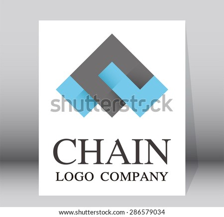 Chain simple logo company design element vector abstract shape icon symbol template business  - stock vector