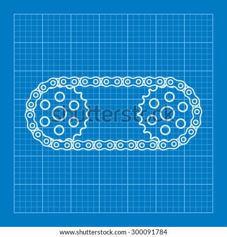 Chain with cogwheels blueprint - stock vector