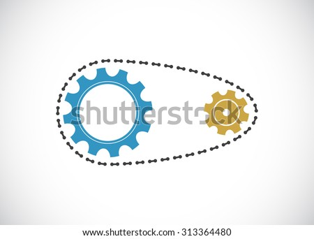 chain with gears mechanism icon