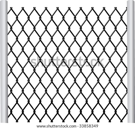 chainlink fence - stock vector