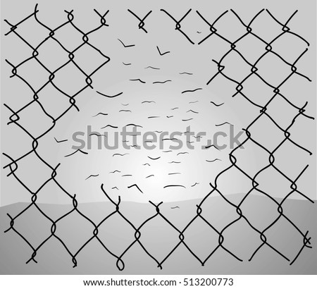 Chainlink Fence Hole Transforming Into Wire Stock Vector 513200773 ...