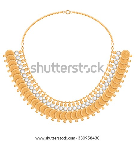 Chains and gemstones golden metallic necklace with round pendants. Personal fashion accessory design. Indian style.
