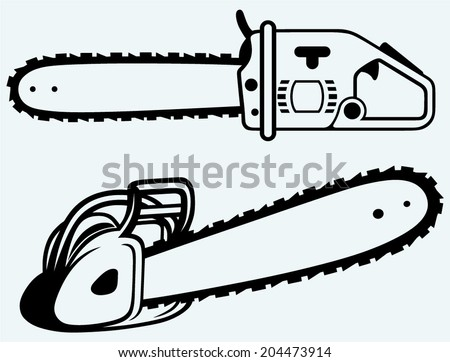 Chainsaw. Image isolated on blue background - stock vector