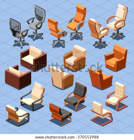 Chair and armchair isometric vector set. Chair interior armchair furniture, isometric chair, seat armchair business or home illustration - stock vector