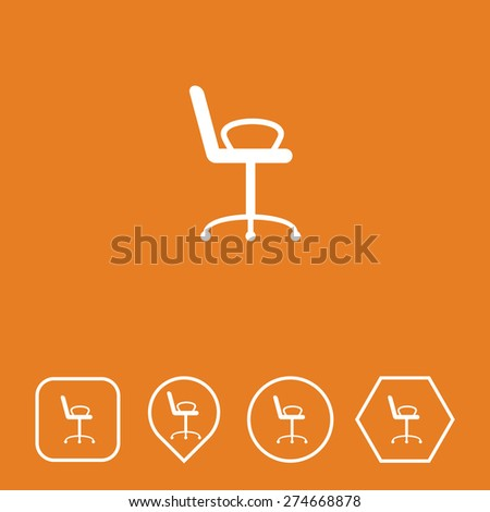 Chair Icon on Flat UI Colors with Different Shapes. Eps-10. - stock vector
