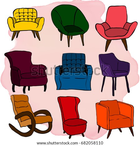 Chair Icon Set Chairs Different Colors Stock Vector 682058110 ...