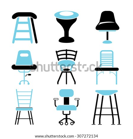 chair icons set, furniture icons - stock vector