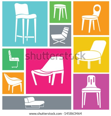 chair set, stylish chairs, furniture icons, interior design - stock vector