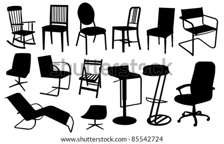 Chair Silhouettes Isolated On White