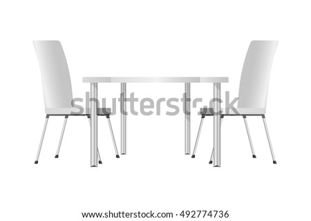 Chairs And Table, High Glass Top Table Chairs On White Background, 3d  Photorealistic Vector