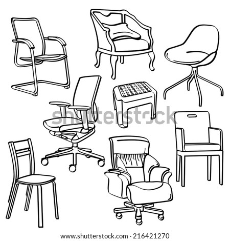 Chairs Collection - stock vector
