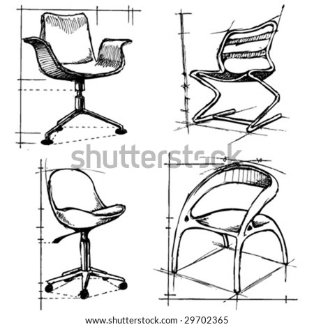 chairs drawings 2 vector - stock vector