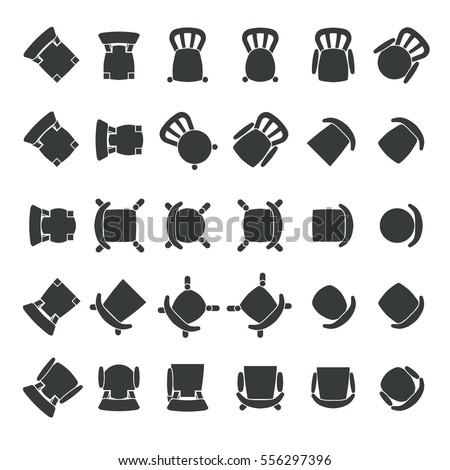 Chairs Seen Top View Each One Stock Vector 556297396