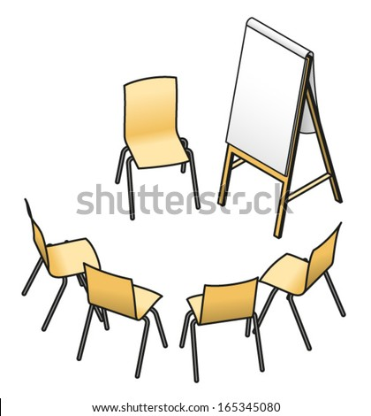 Chairs set up for a small group workshop or seminar. With the audience in an arc, a chair for the presenter, and a flip board. - stock vector