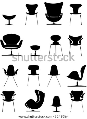 chairs vector set - stock vector