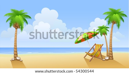 Chaise lounge on a beach - stock vector