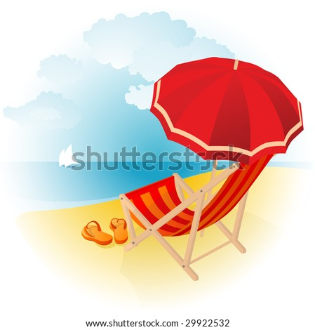 Beach lounge chair stock vectors vector clip art for Breezy beach chaise