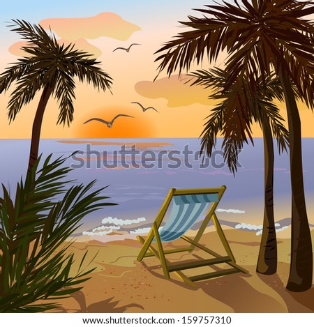 chaise lounge, palms and sunset on the sea. vector illustration
