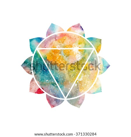 Chakra Manipura icon, ayurvedic symbol, concept of Hinduism, Buddhism. Watercolor cosmic texture. Vector isolated on white background - stock vector