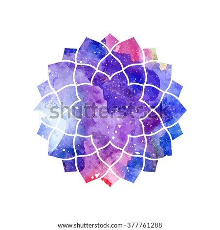 Chakra Sahasrara icon, ayurvedic symbol, concept of Hinduism, Buddhism. Watercolor cosmic texture. Vector isolated on white background
