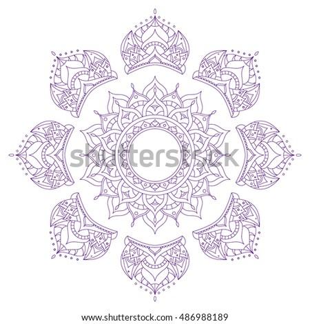 Chakra Symbol Sahasrara Henna Tattoo Oriental Stock Vector Royalty